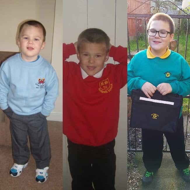 Boy growing up different school photos