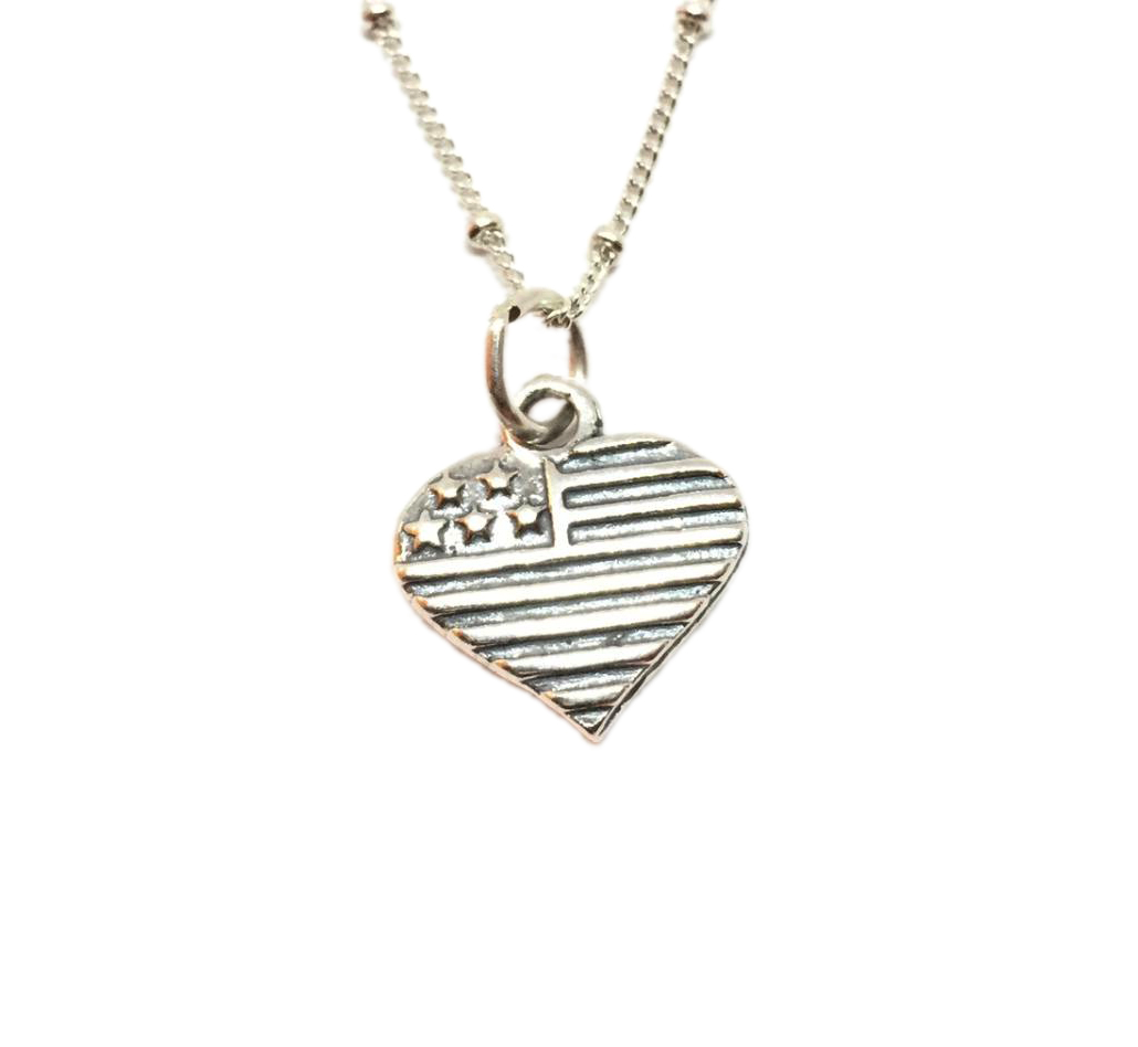 American Flag USA Heart Necklace Sterling Silver