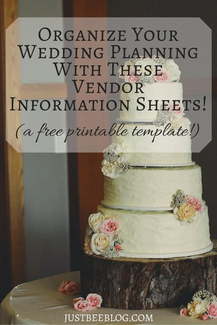 Wedding Planning Vendor Information Sheets - Just Bee