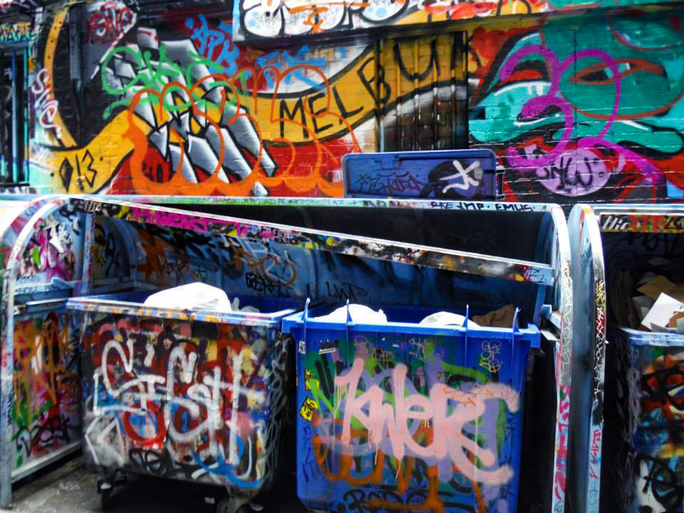 Garbage bin painted in graffiti. Melborne photo essay