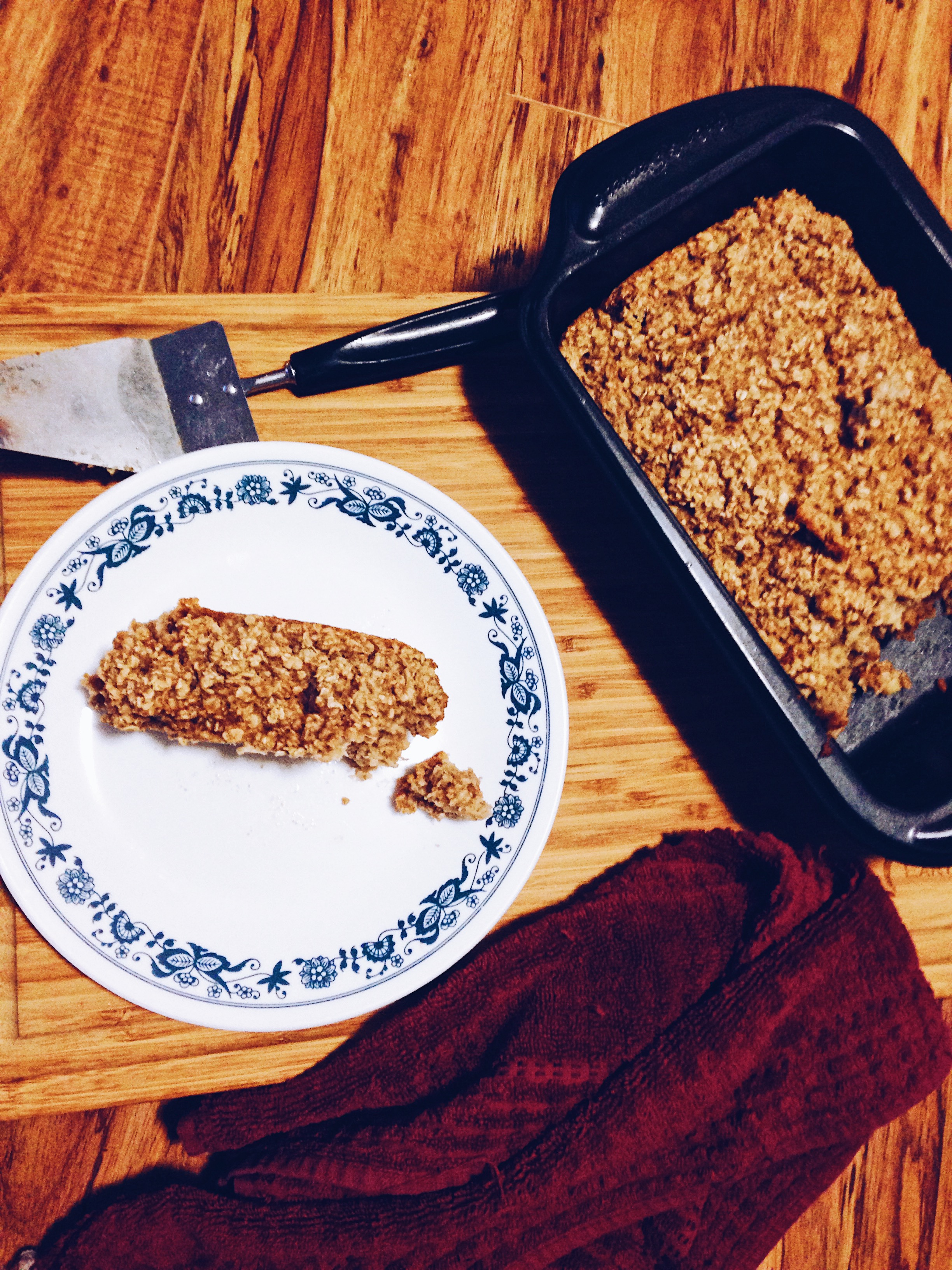 Homemade peanut butter banana baked oatmeal. Vegan. Gluten free. Recipe. Breakfast