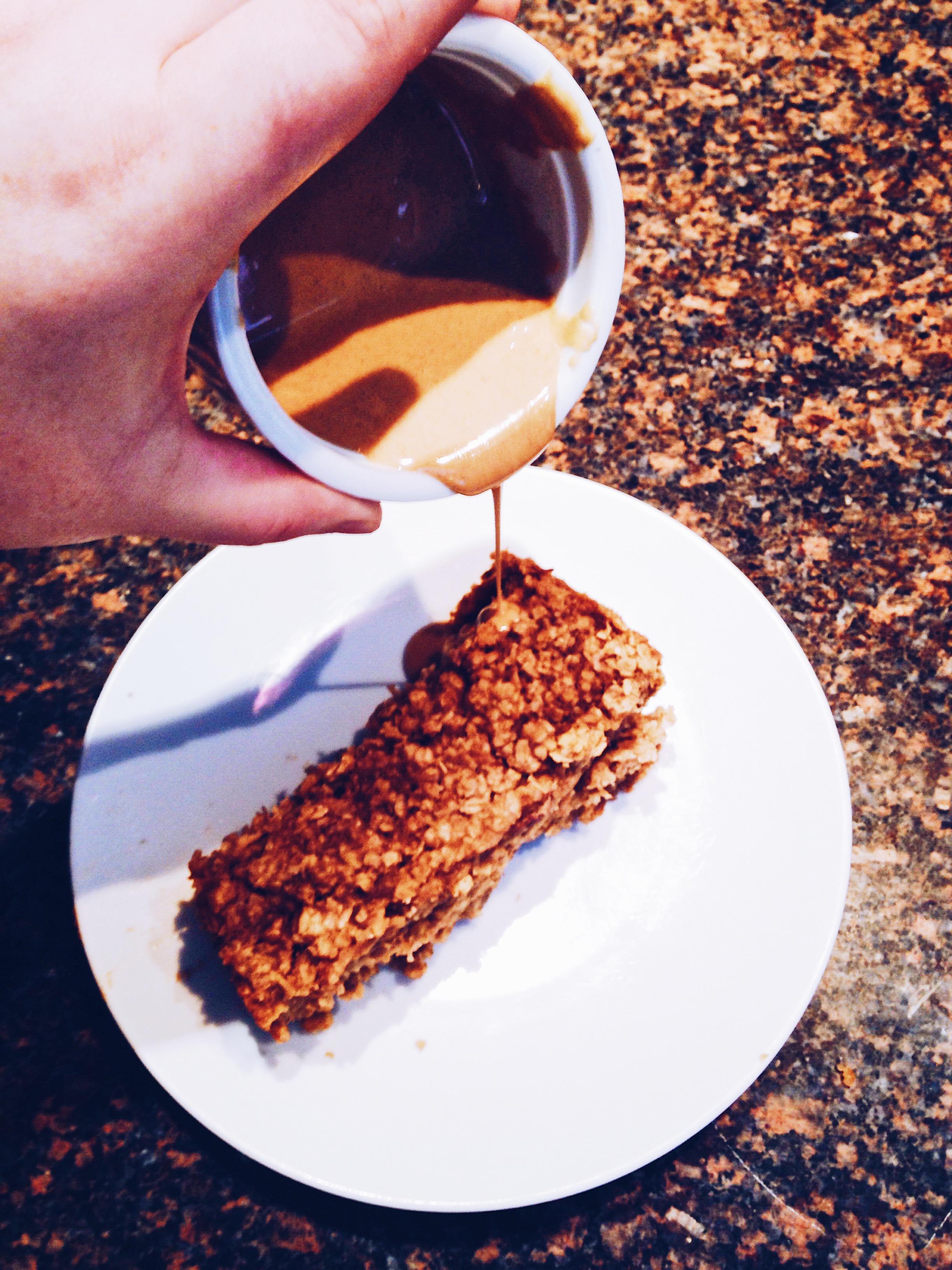 Homemade peanut butter banana baked oatmeal. Vegan. Gluten Free. Recipe. Breakfast