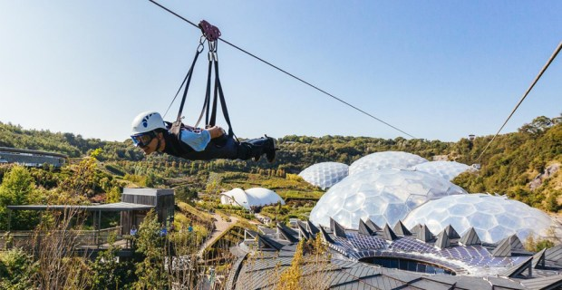 sky wire zipwire over the eden project in cornwall