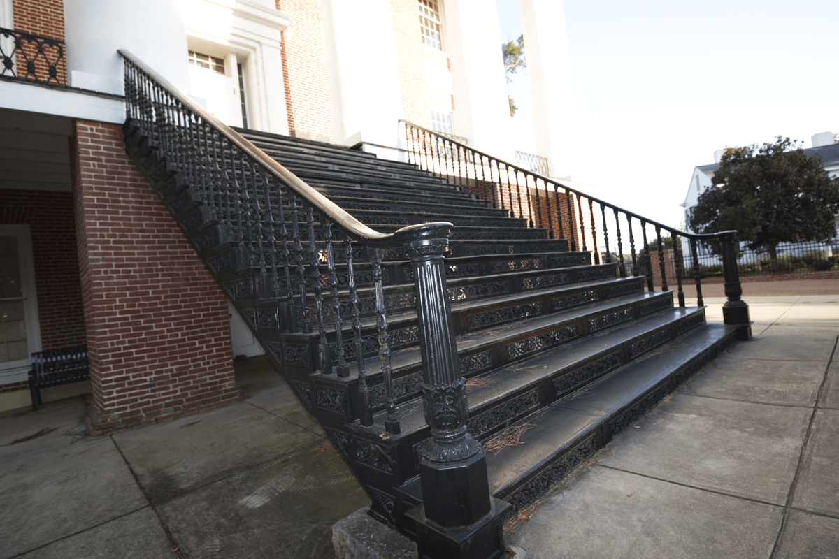 The wrought iron staircase originally from the Windsor mansion is now part of Alcorn State University.