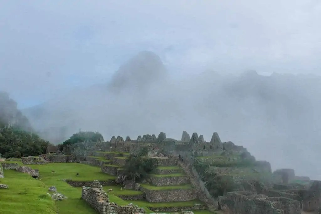 Fog covering Machu Picchu