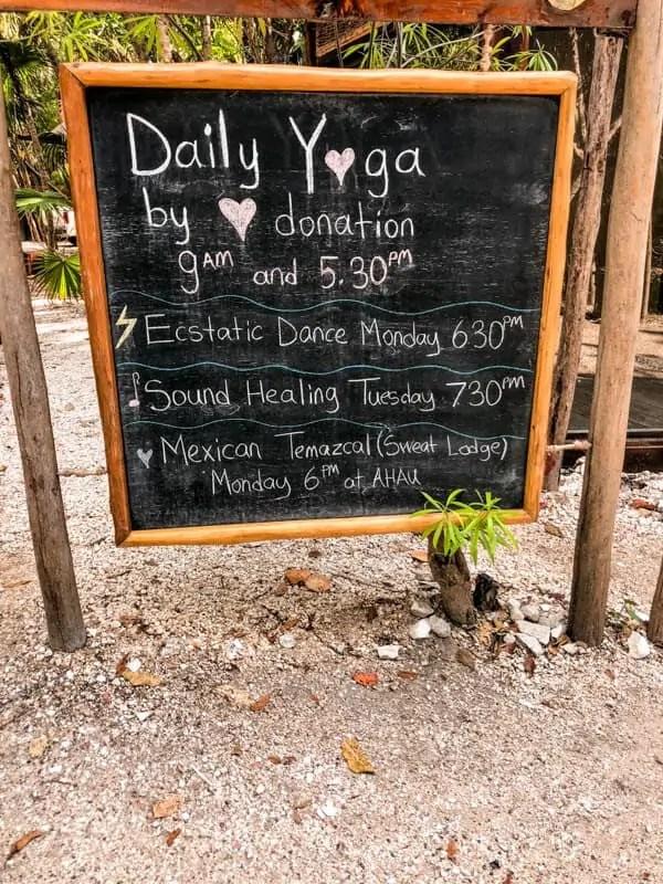 yoga sign in Tulum, Mexico