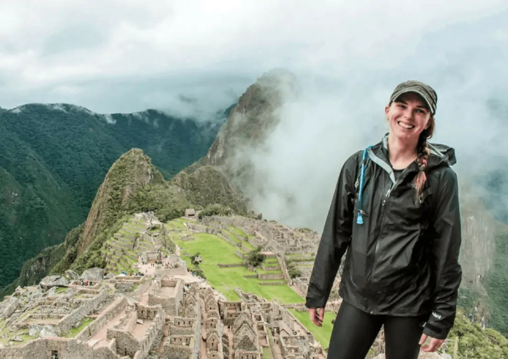 Katie at the top of Machu Picchu in Peru