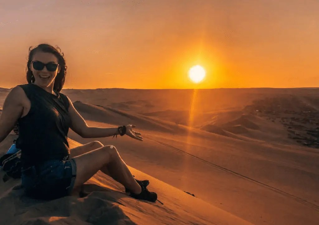 Katie at sunset in Huacachina Peru