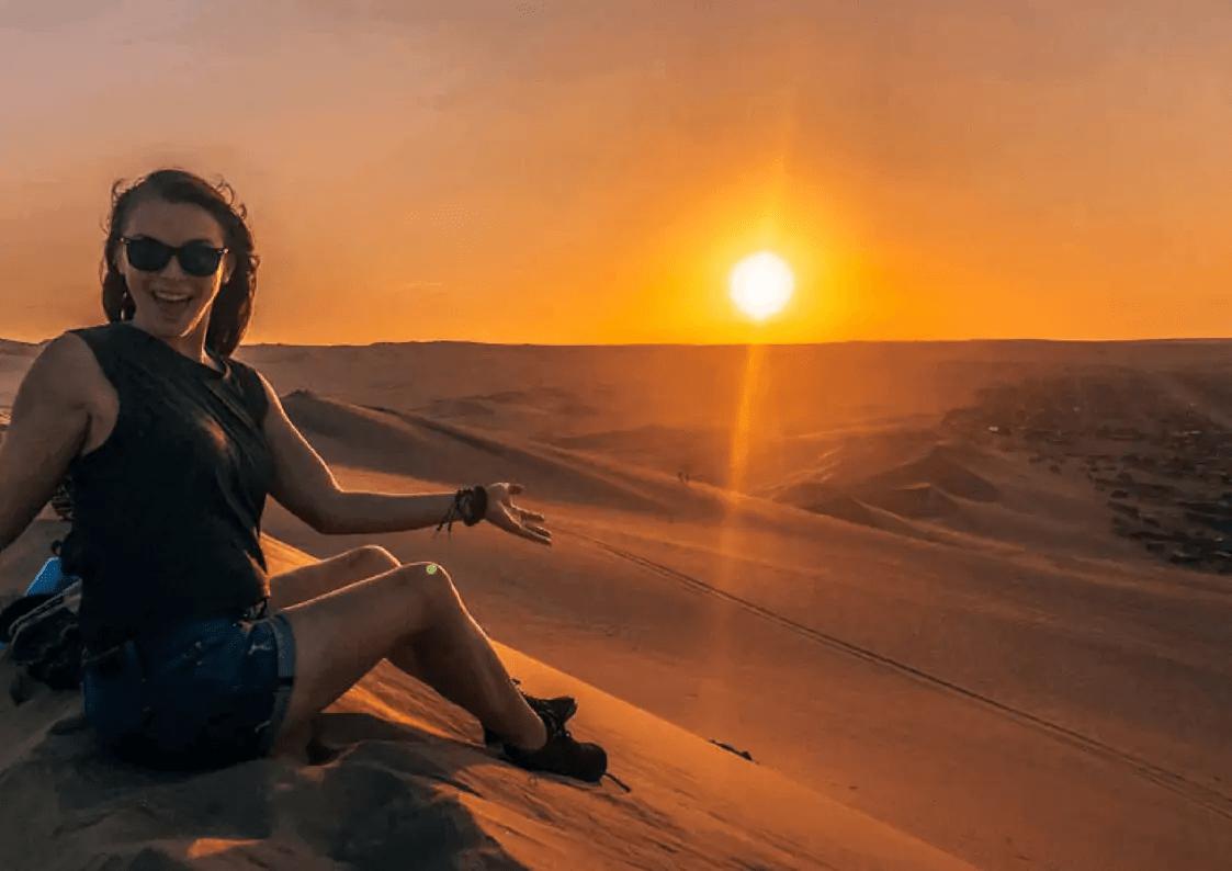 Katie at sunset in Huacachina Peru