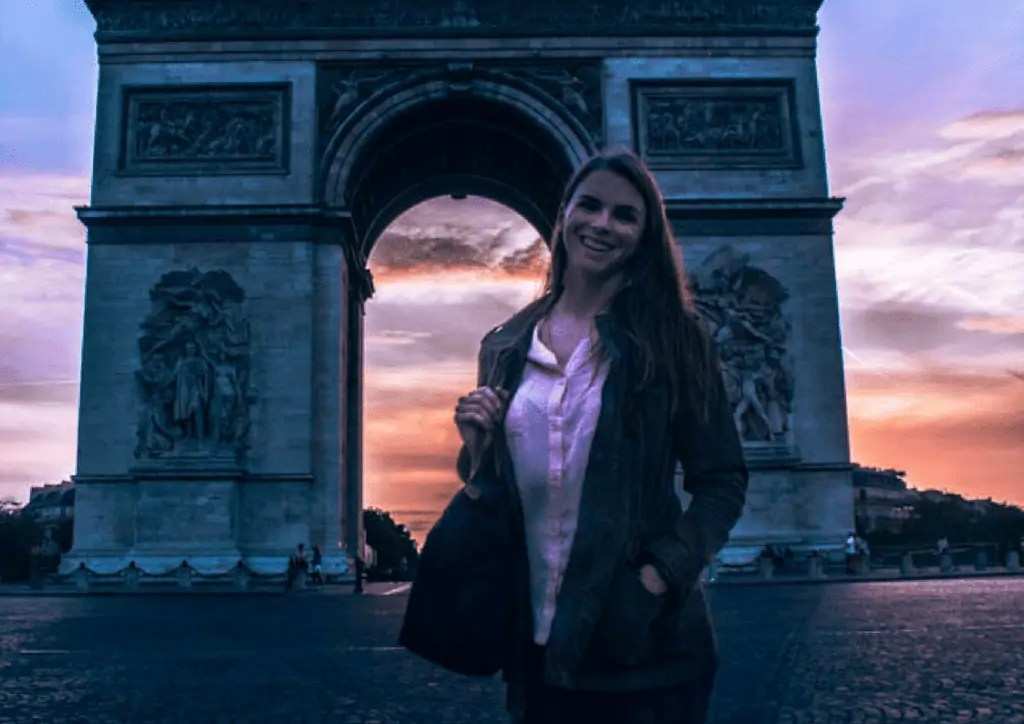 Katie chasing the sunset at the Arc de Triomph in Paris