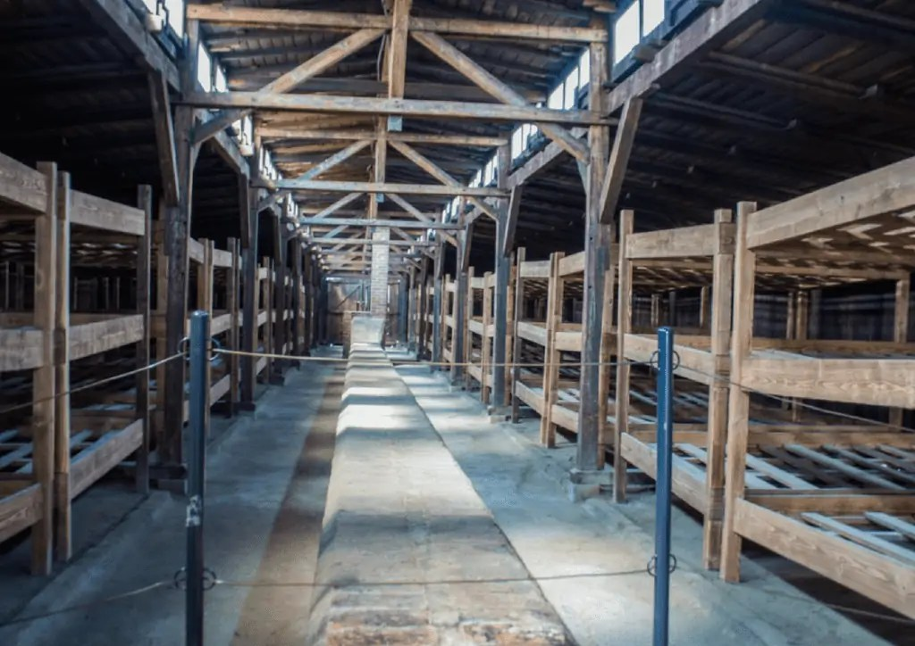 inside of one of the barracks at birkenau