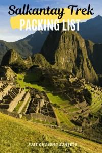 Salkantay Trek Packing list