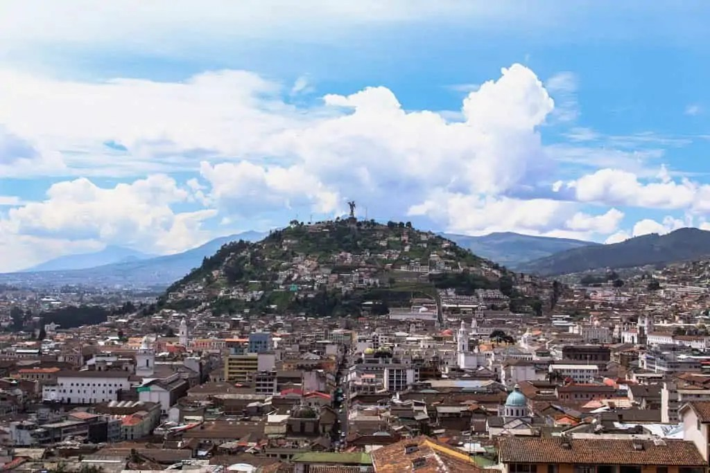 the Panecillo s seen from the Basilica in Quito