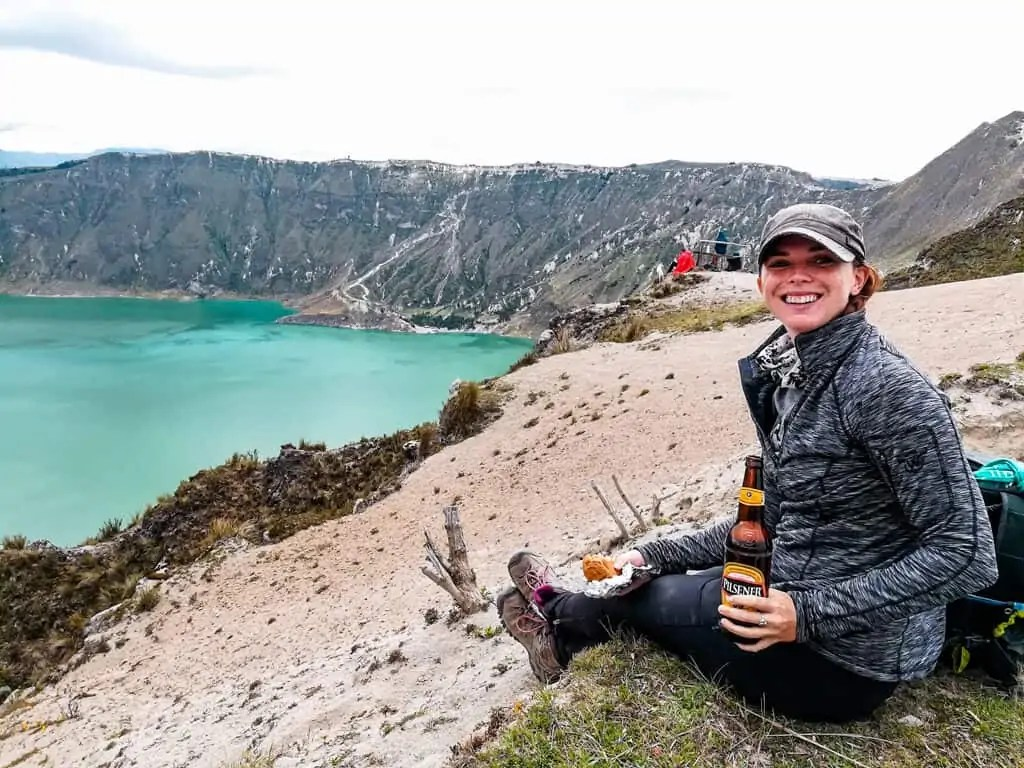 Beer, a packed lunch, and crater lake views on the hike to quilotoa