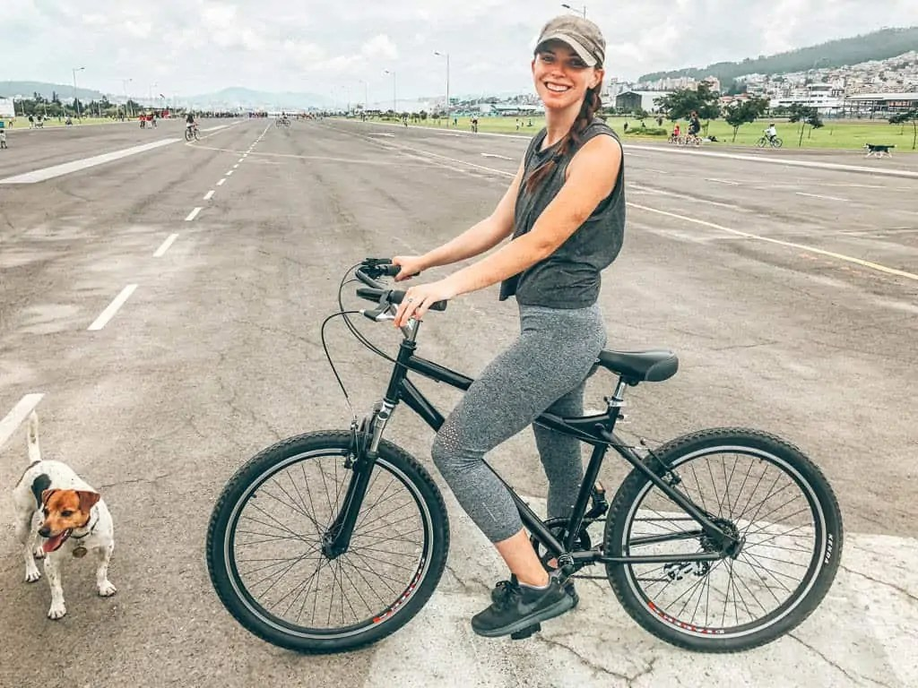 Riding bikes at the old airport in Quito during Ciclopaseo