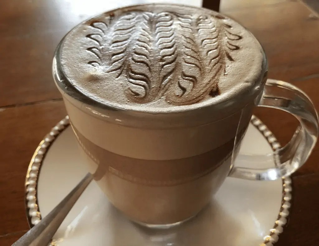Creamy hot chocolate from honey coffee and tea
