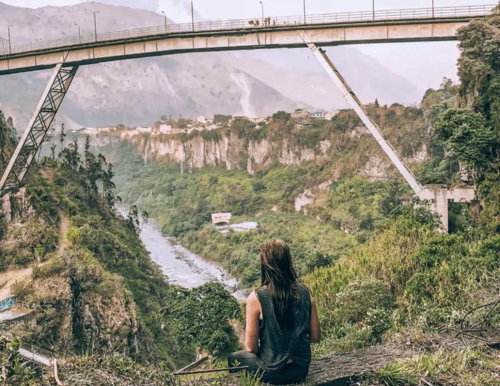 Me watching people bungee jump in Baños, Ecuador
