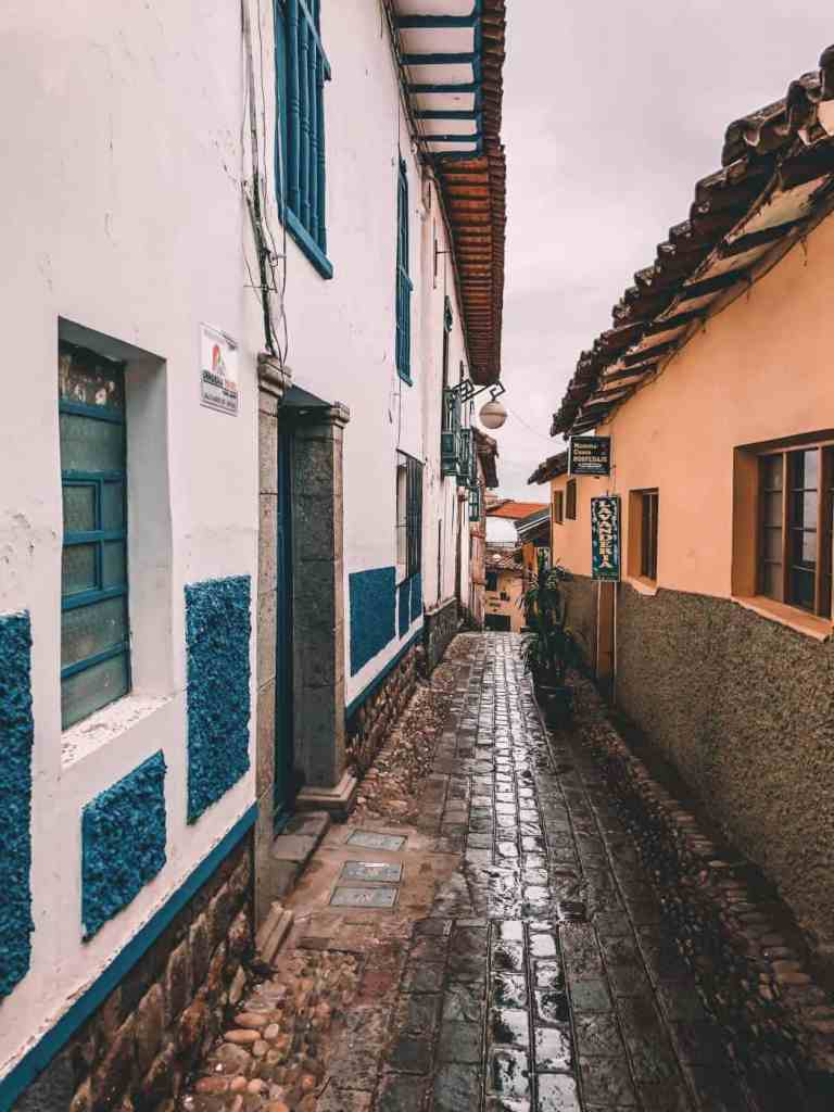 The streets of San Blas in Cusco Peru