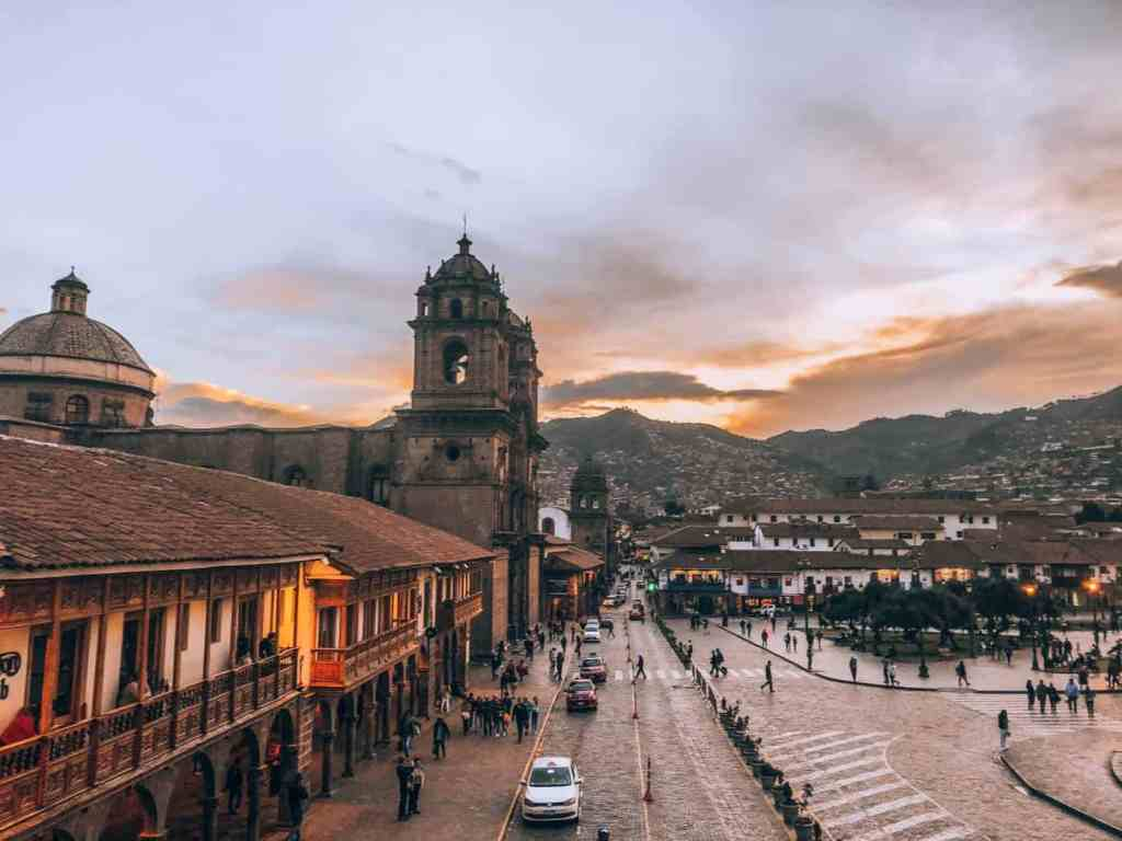 On your Cusco Itinerary should be watching the Sunset in Plaza de Armas