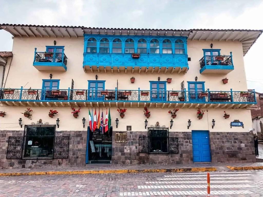 Beautiful buildings and balconies of Cusco