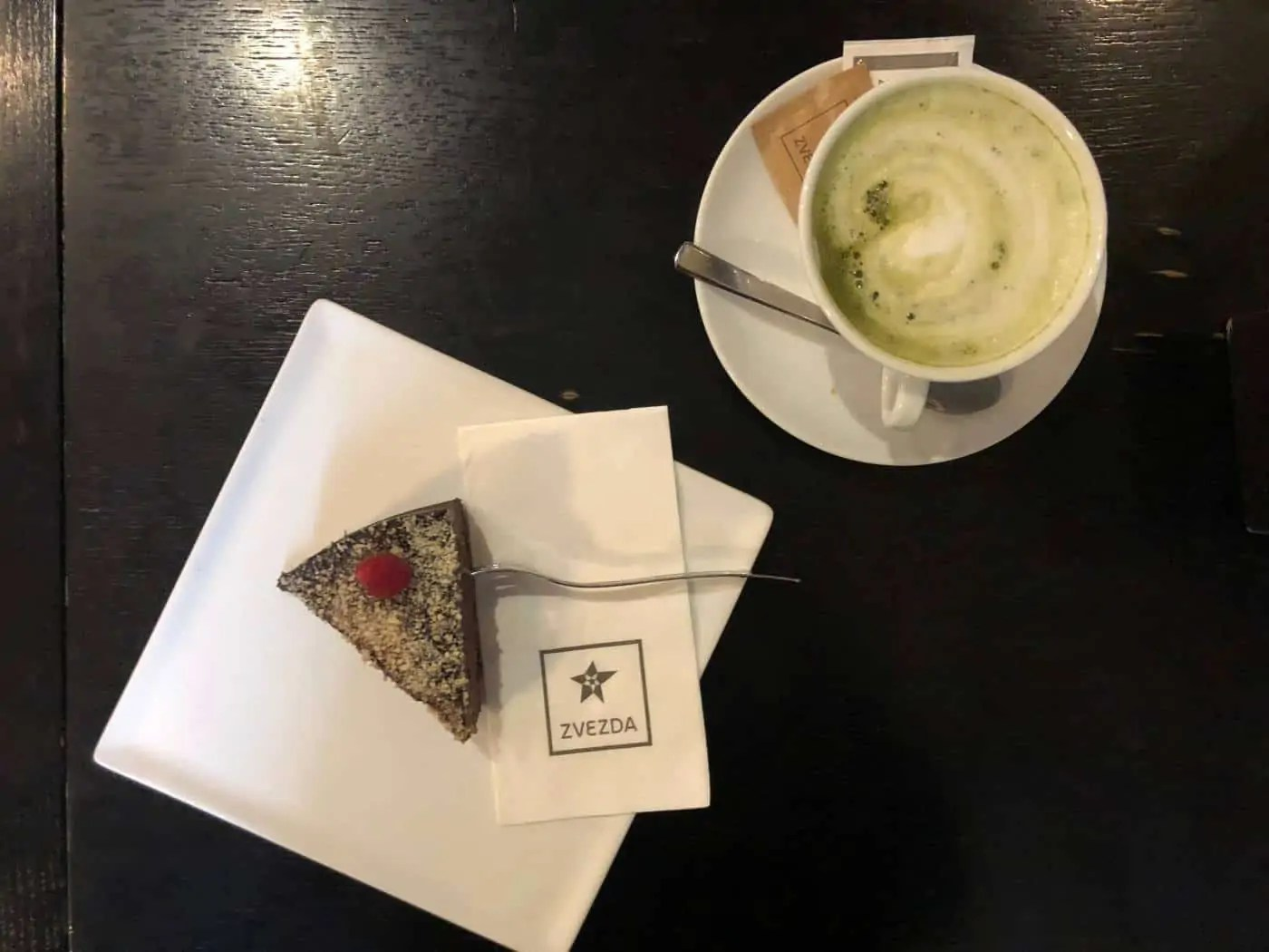 A Matcha Latte and Raw Cake from Zvevda in Ljubljana