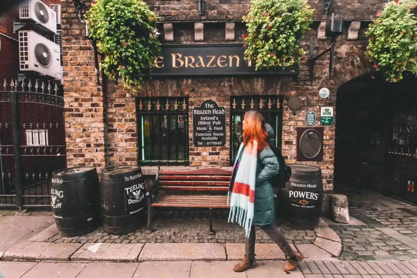 Me walking in front of Brazen Head pub in Dublin