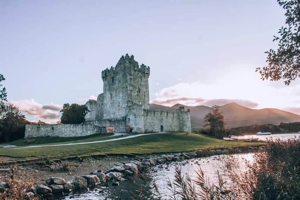 Ross Castle in Killarney National Park at Sunset