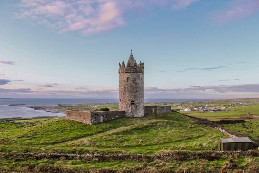 Doonagore Castle at Sunset in Doolin, Ireland
