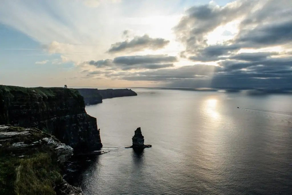 sunset cliff walk from Doolin to the Cliffs of Moher
