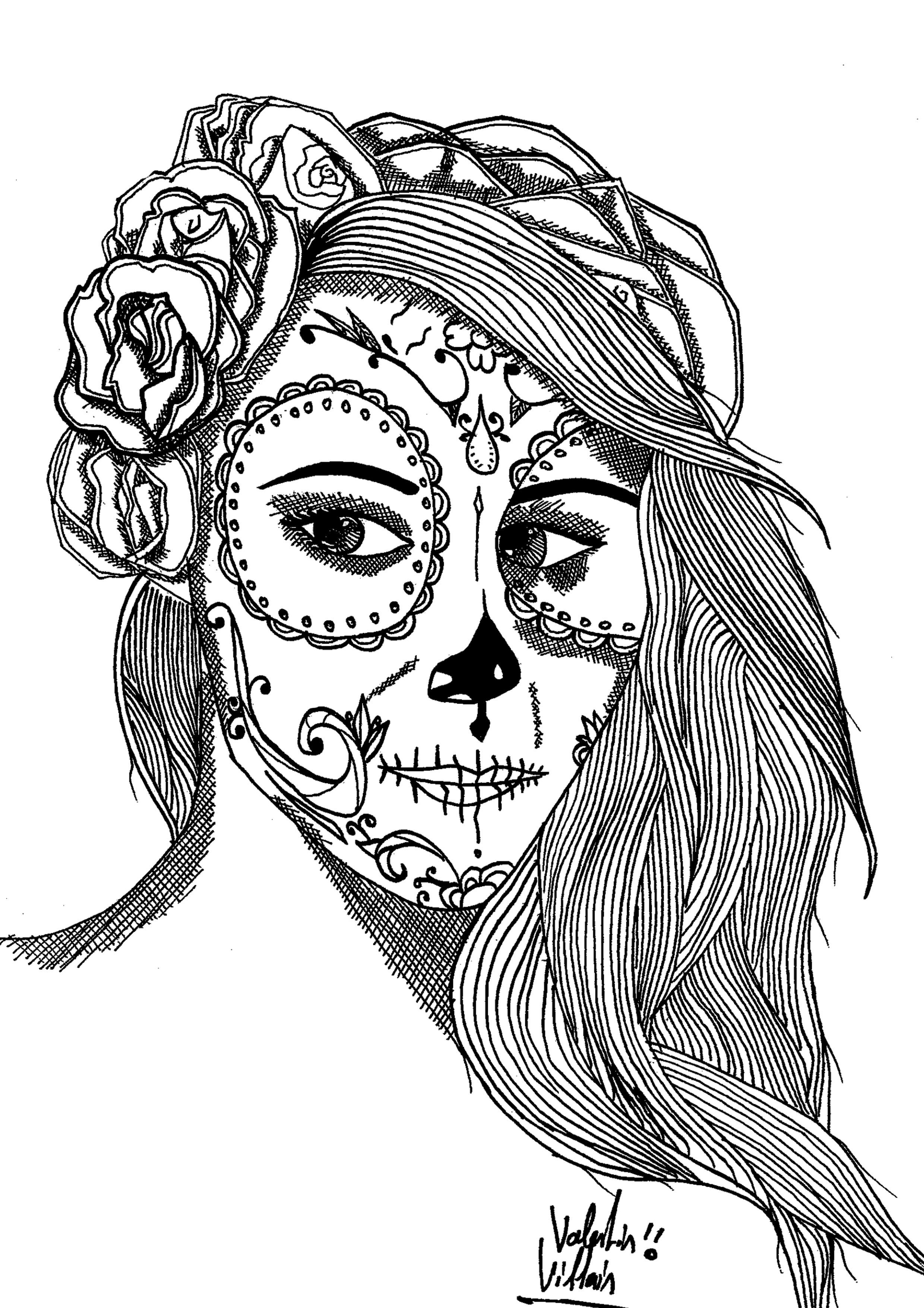 Couple Drawing Sugar Skull