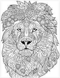 Coloriage De Lion Difficile.Coloriage Lion Adulte Tete Lion 2
