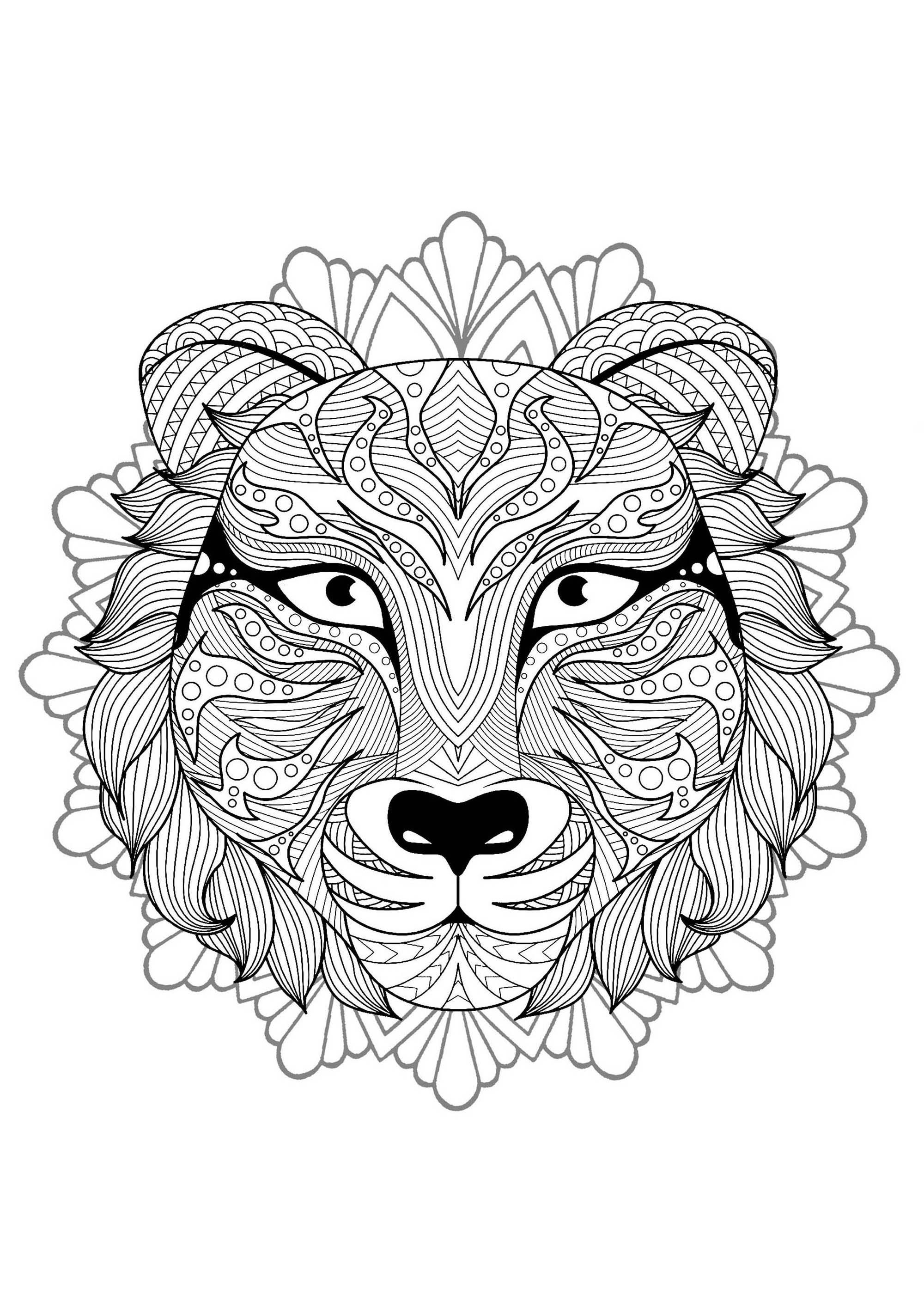 Mandala Tete Tigre 3 Mandalas Coloriages Difficiles