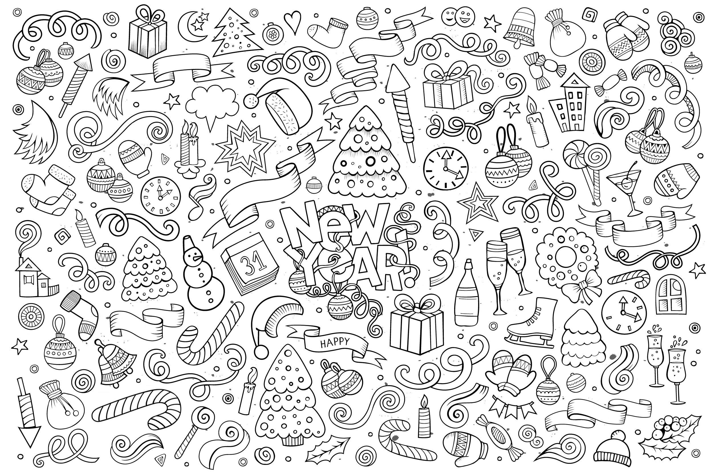 Bonne Annee Style Doodle