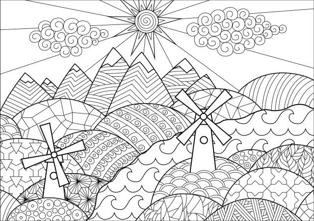 Paysage avec moulins - Paysages - Coloriages difficiles pour adultes