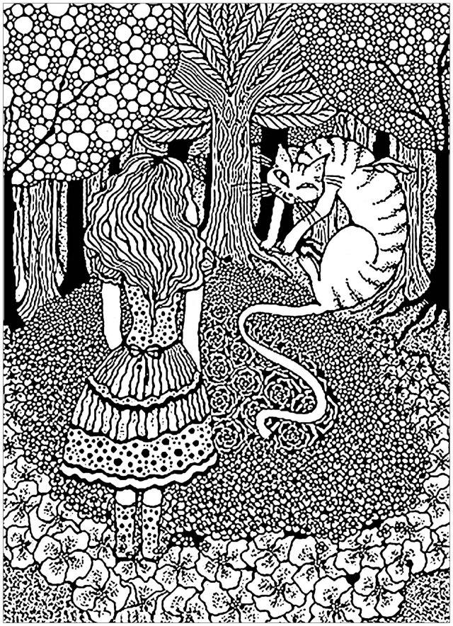 Alice et chat cheshire dans arbre - Retour en enfance - Coloriages