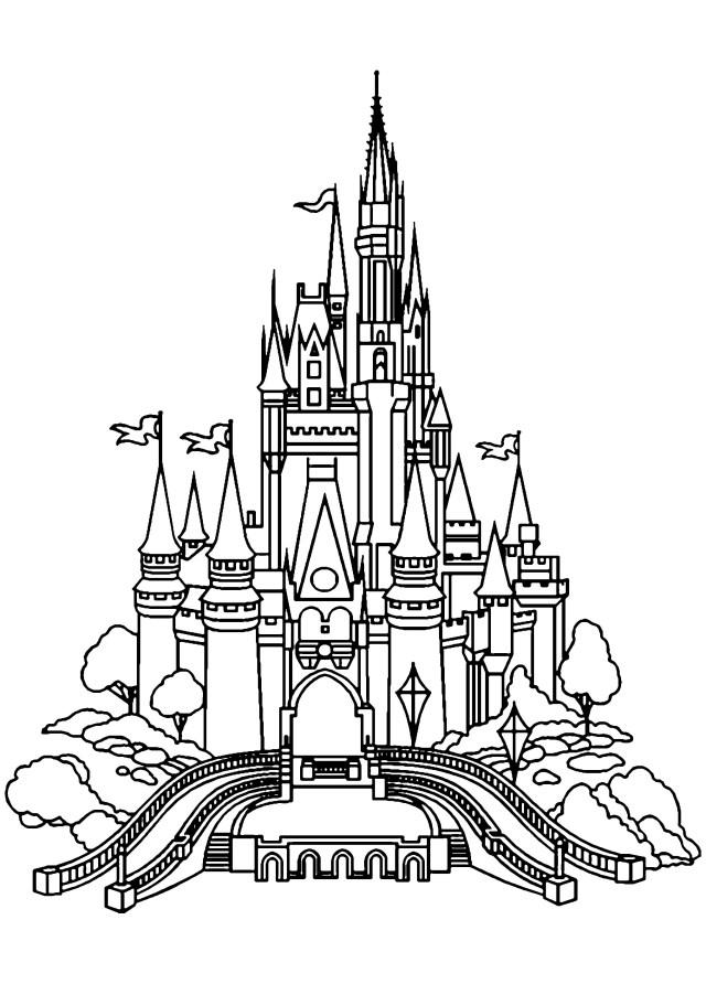 Chateau disneyland - Retour en enfance - Coloriages difficiles