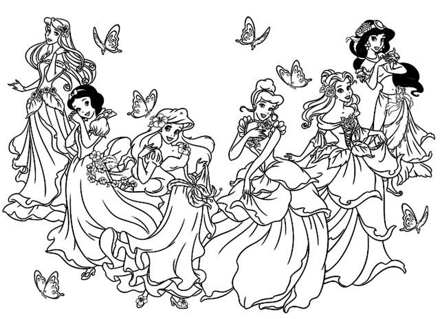 Toutes les princesses disney - Retour en enfance - Coloriages