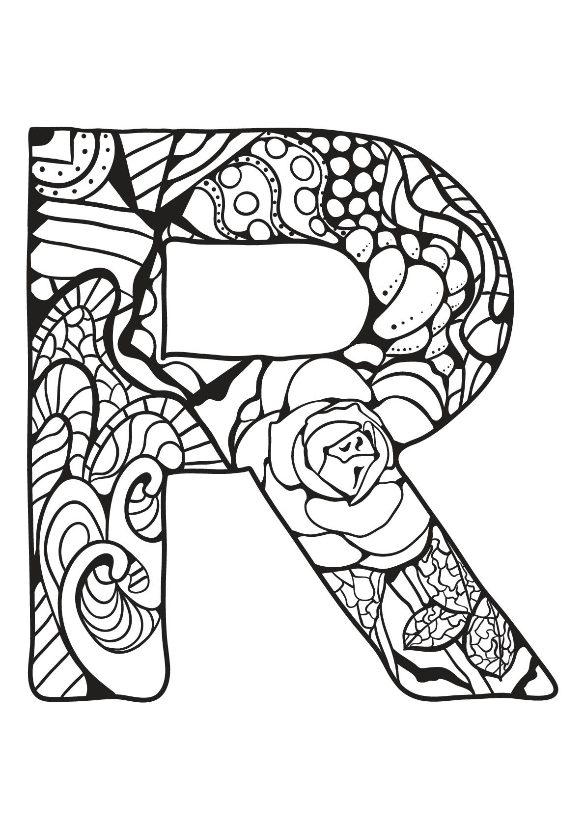 Alphabet To Color For Kids R