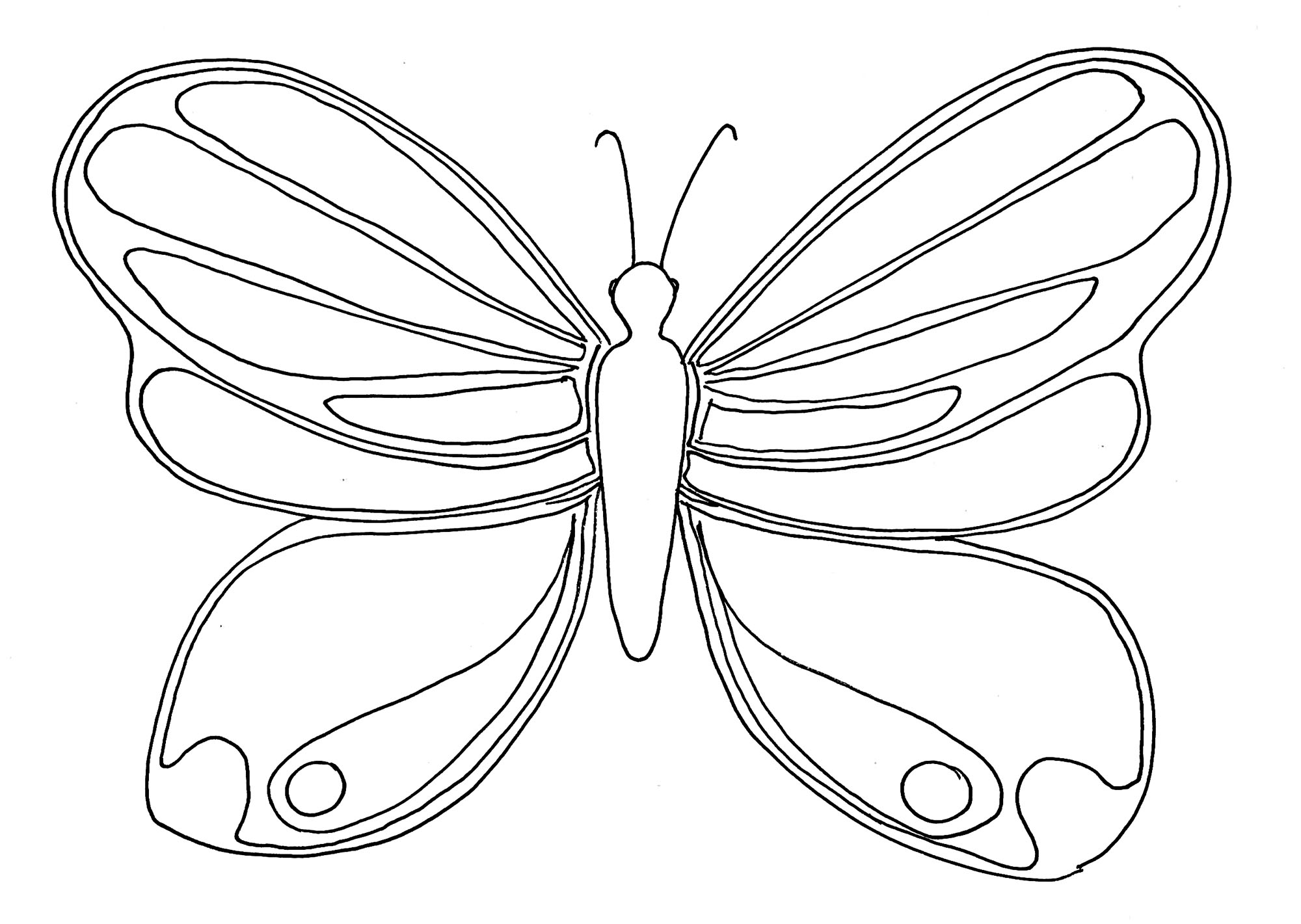 Butterflies To Color For Kids