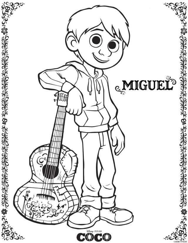 Coco to color for kids - Coco Kids Coloring Pages