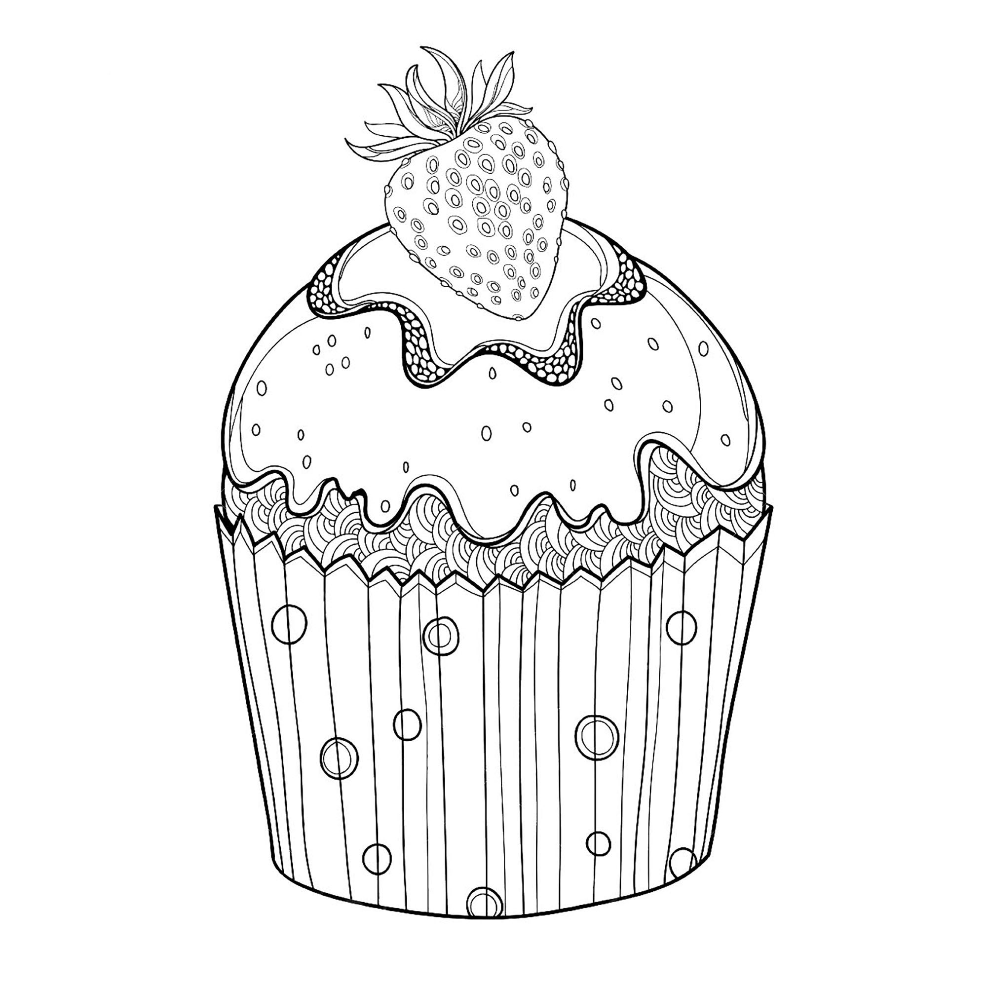 Cupcakes And Cakes Free To Color For Children