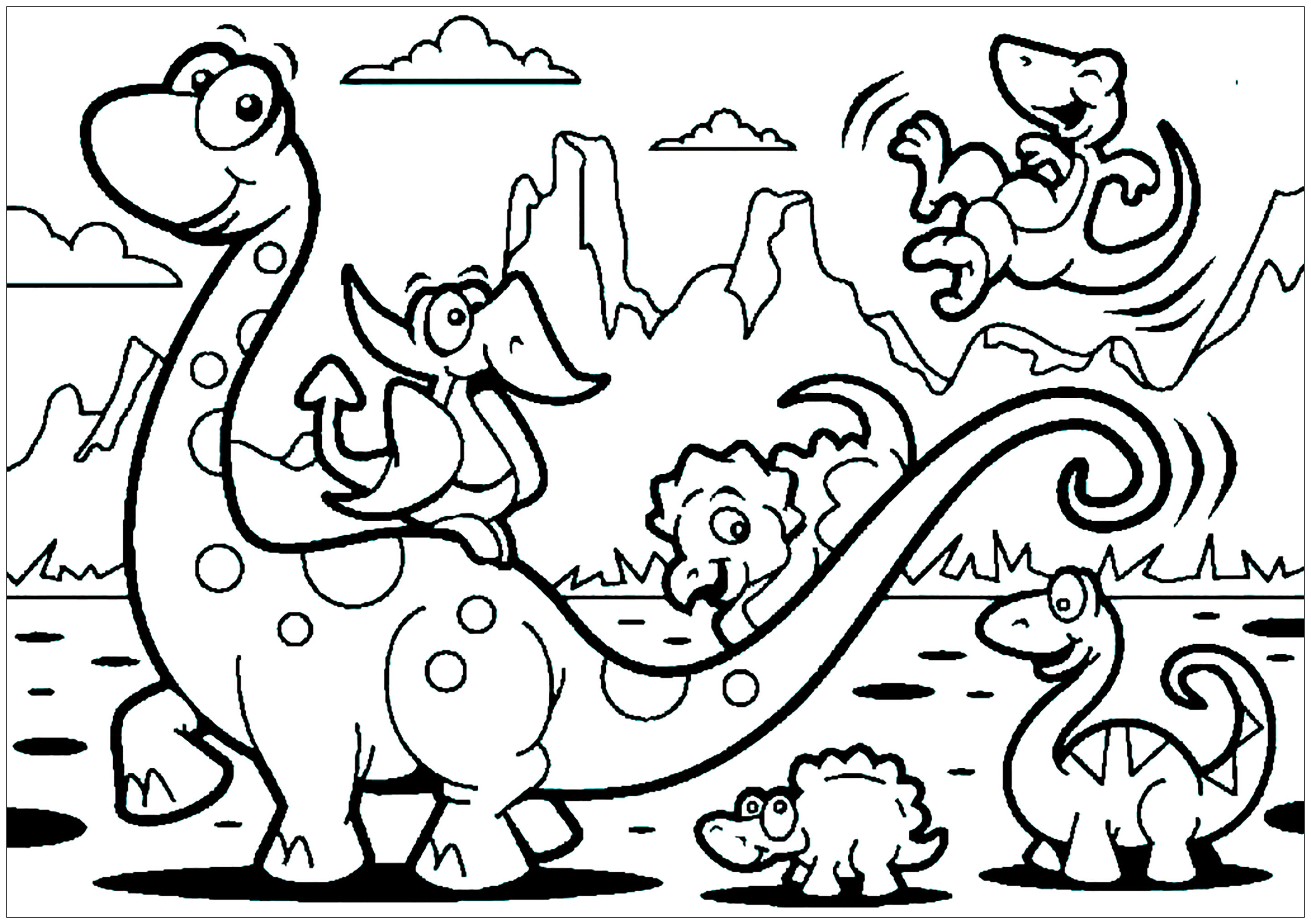 Dinosaurs For Kids Brachiosaur Family Dinosaurs Kids Coloring Pages
