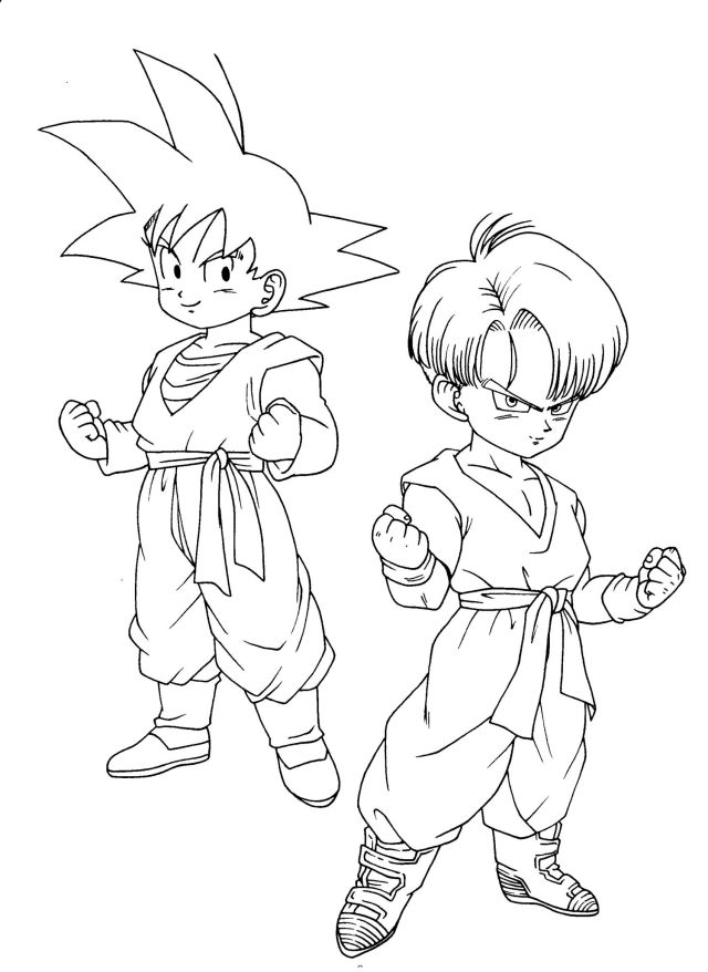 Songoten Trunks - Dragon Ball Z Kids Coloring Pages