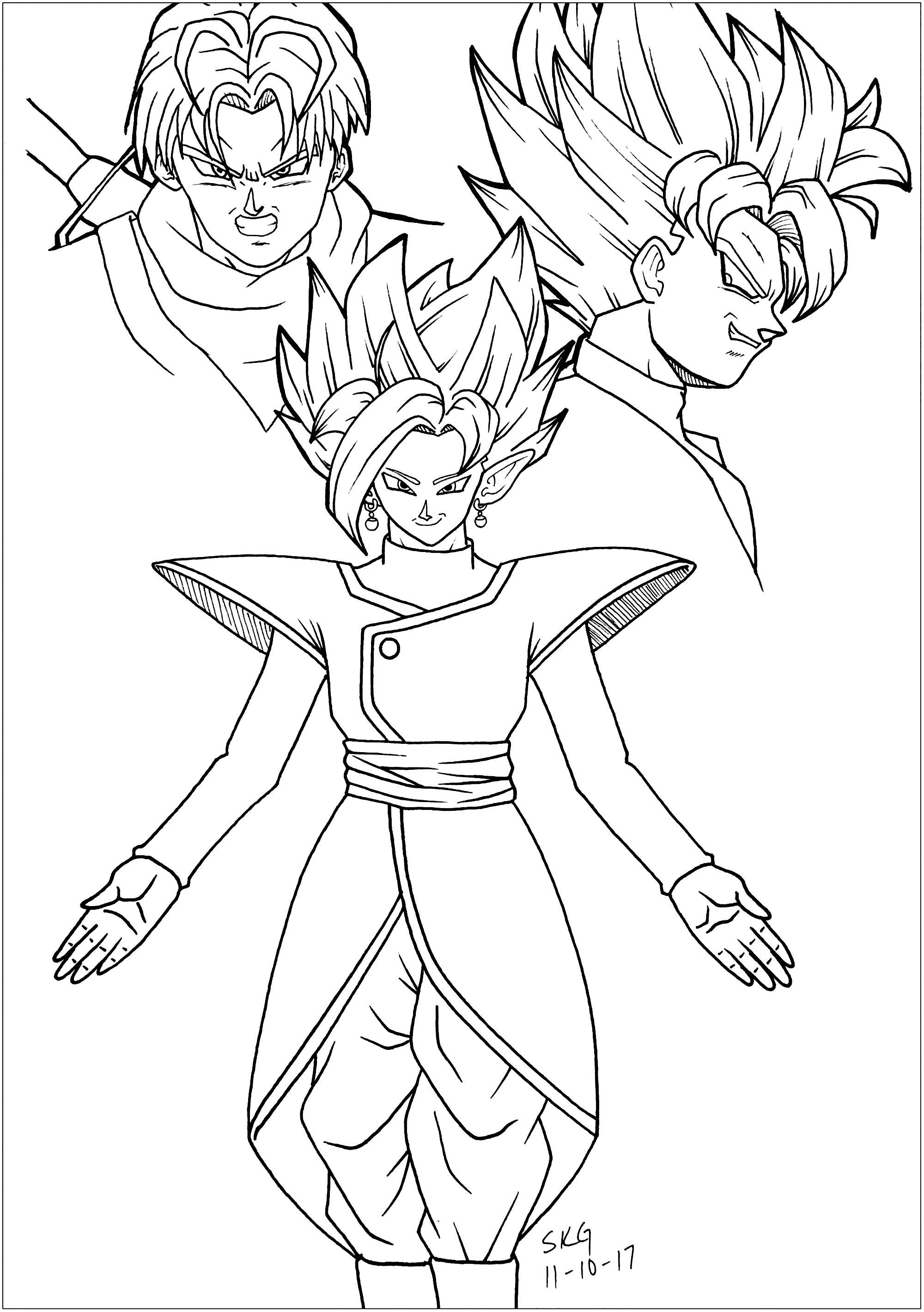 Black Goku Trunks And Zamasu