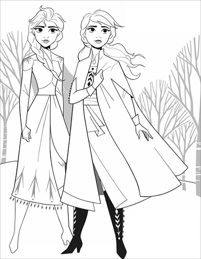 Frozen 30 : Anna & Elsa without text - Frozen 30 Kids Coloring Pages