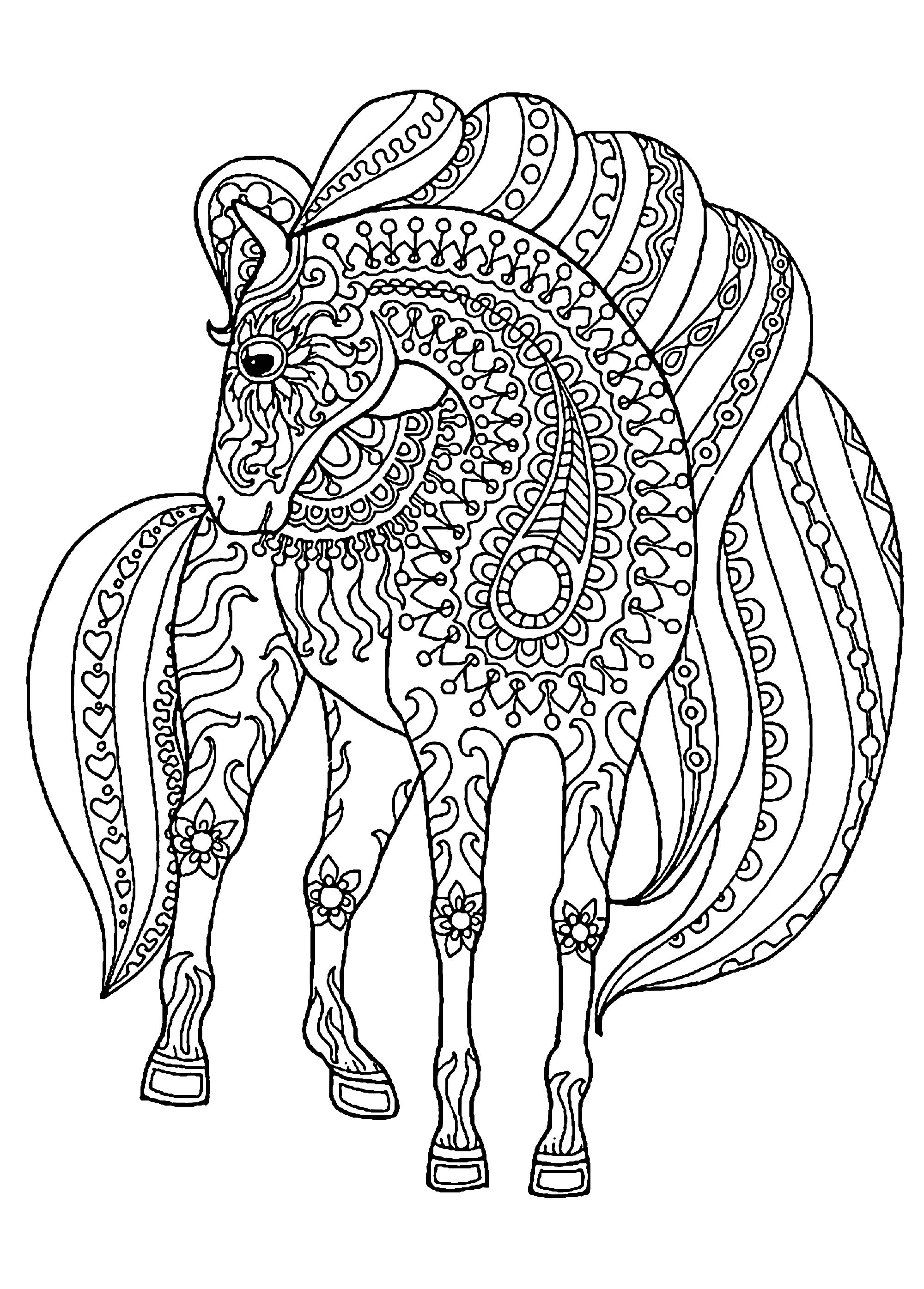 Horse With Patterns Free To Color For Children Horses Kids Coloring Pages