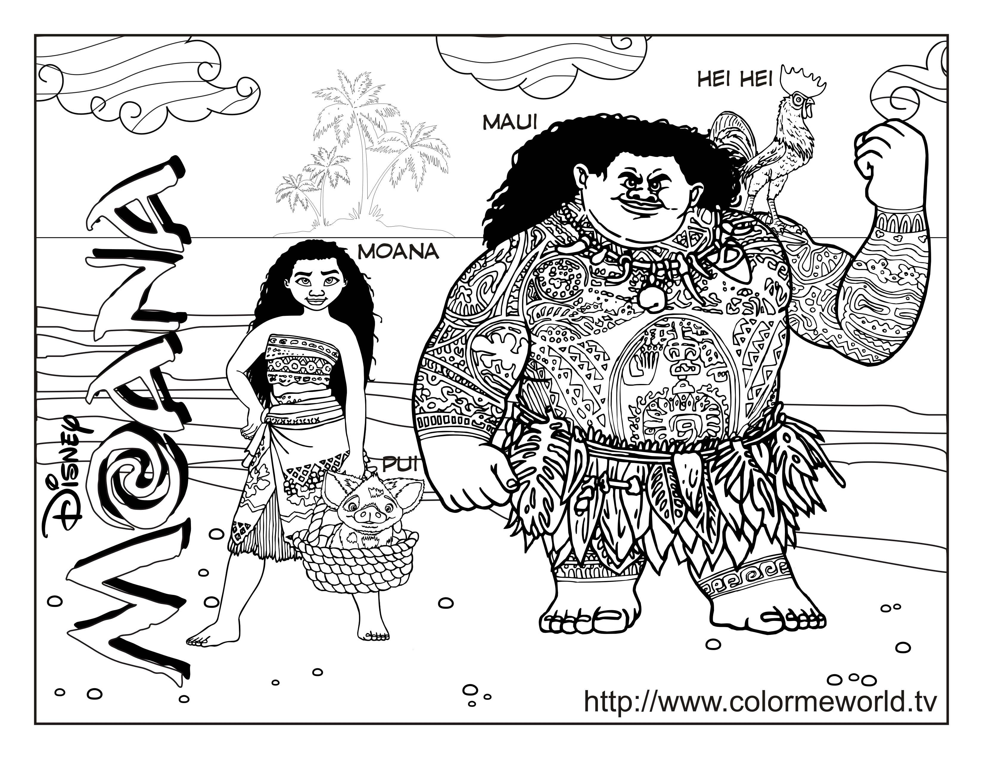 Disney Princess Baby Moana Coloring Pages - THAIFAA