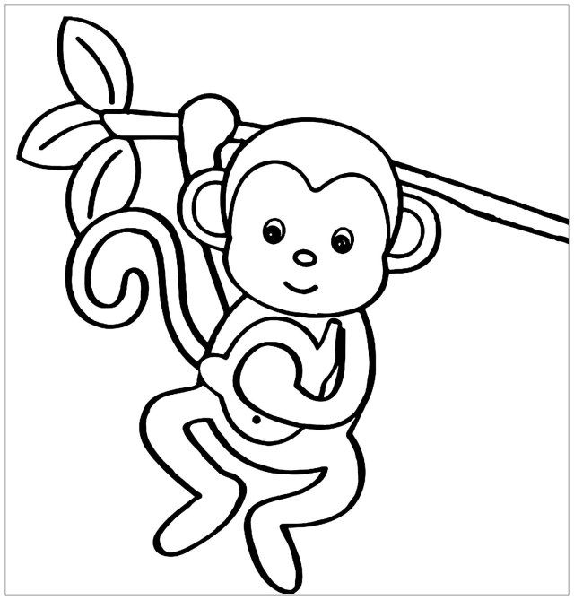 Monkeys to color for children - Monkeys Kids Coloring Pages