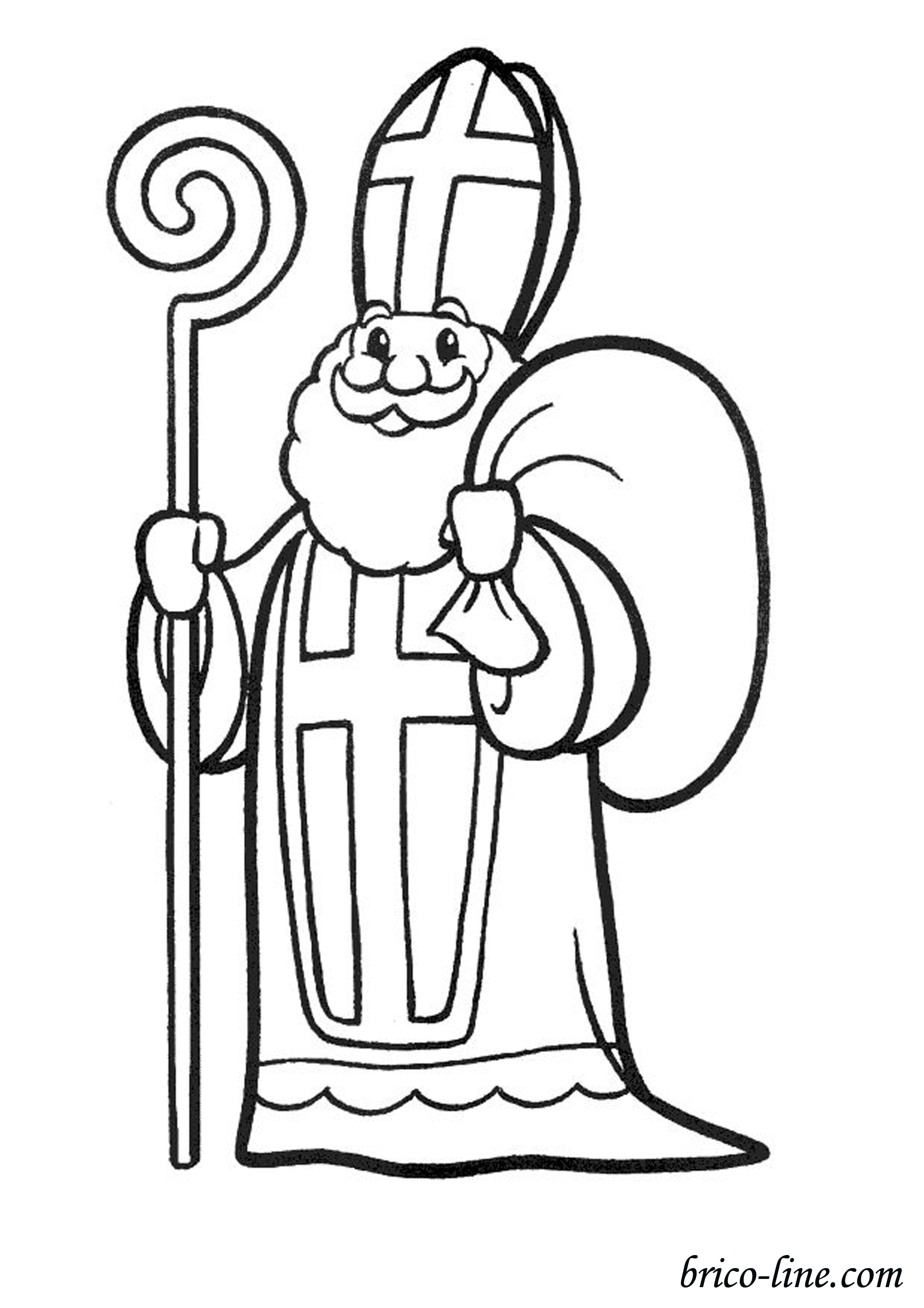 St Nicolas Free To Color For Kids