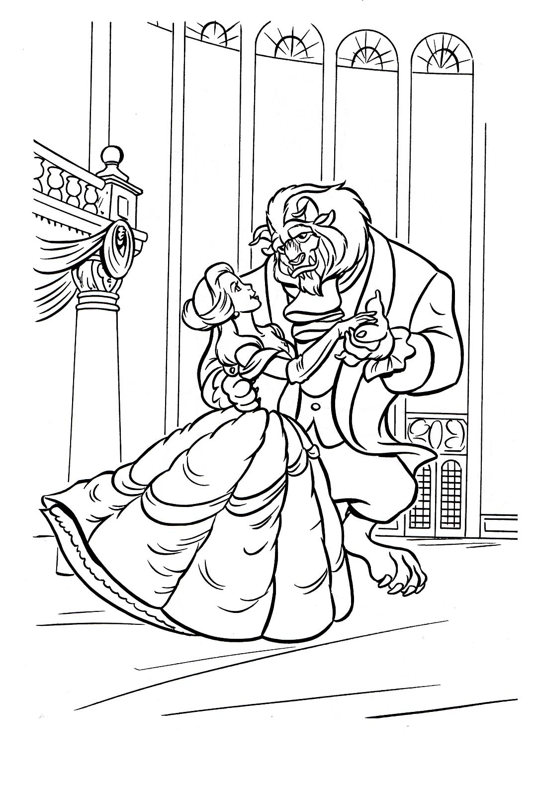 The Beauty And The Beast To Color For Kids